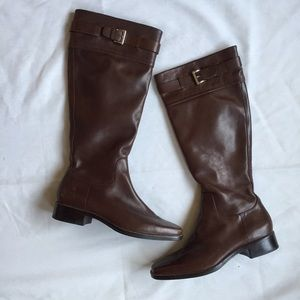 Antonio Melani Brown Leather Riding Zip Boots